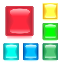 Set with six glossy color web buttons vector