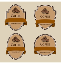 Set of labels with brown tape Coffee theme vector image