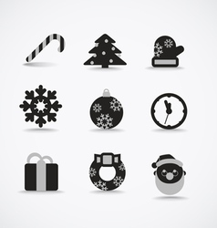 Christmas silhouettes collection vector image