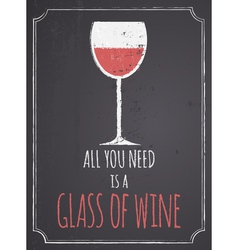 Chalkboard red wine design vector