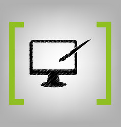 monitor with brush sign black scribble vector image