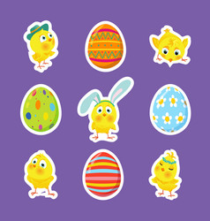 Set of easter stickers with chicks eggs vector