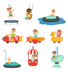 Children ride on attractions in the amusement park vector