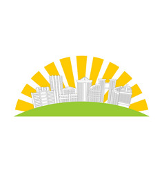 City logo new house emblem building and sun sign vector