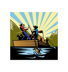Cowboy man steering flatboat along river vector
