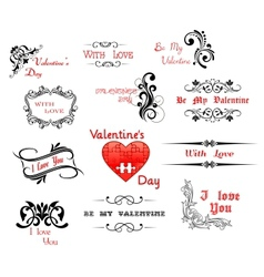 Love and valentine day calligraphic headers vector
