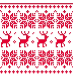 Nordic seamless knitted christmas pattern vector image