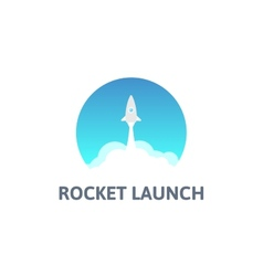 Gray rocket and white cloud circle icon in flat vector