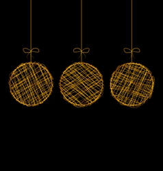 Wicker christmas balls isolated on black vector