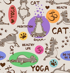 Seamless pattern with cat doing yoga position vector