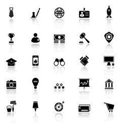 Sme icons with reflect on white background vector