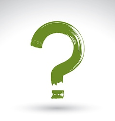 Hand drawn green question mark icon brush drawing vector