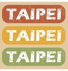 Vintage taipei stamp set vector
