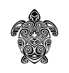 turtle in maori tattoo style vector image