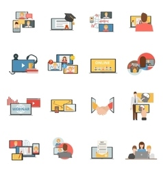 Web collaboration webinar flat icons set vector