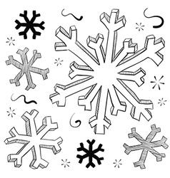 Snowflakes sketch vector