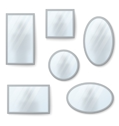 Realistic mirrors set with blurry vector