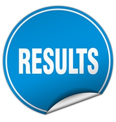 Results round blue sticker isolated on white vector