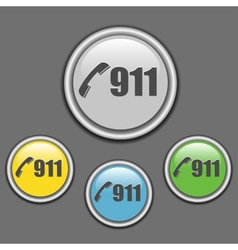 911 call buttons on grey background vector