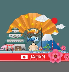 Japan infographic travel place and landmark vector