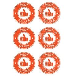 Best seller choice offer retro grunge badges vector image