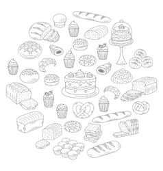 Bakery and pastry collection doodle vector image vector image