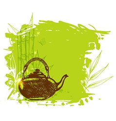 Bamboo branch and teapot vector image