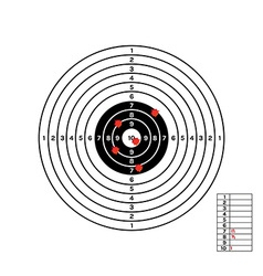 black and white target with red holes vector image vector image