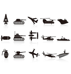 black war weapon icons set vector image vector image