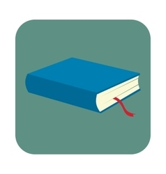 Blue book with bookmark flat icon vector