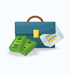 Briefcase and bill over a white background vector