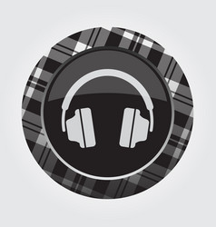 Button with white black tartan - headphones icon vector