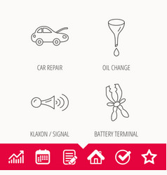 car repair oil change and signal icons vector image vector image