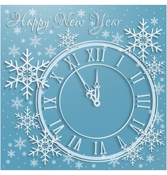Christmas background with snowflakes and clock vector image vector image