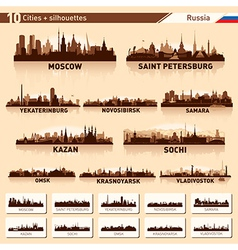 City skyline set Russia silhouette background vector image vector image