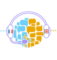 concept of translation headphones vector image