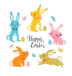 cute multicolored easter bunnies vector image vector image