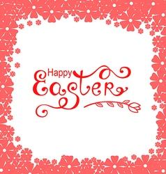 Easter flower frame pink vector