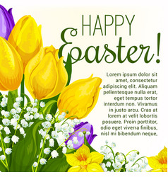 Easter spring flower greeting card with copy space vector