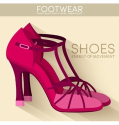 Flat styling wooman shoes bakground concept vector image