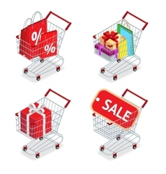 Food basket DISCOUNT or shopping cart with gifts vector image vector image