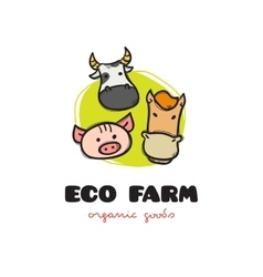 Funny cartoon style eco farm logo with pig vector