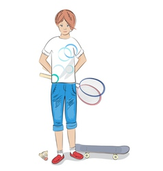 Girl with badminton racket and skateboard vector