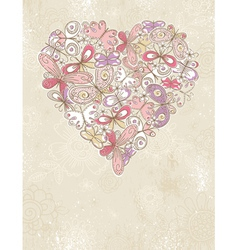 grunge background with valentine heart vector image