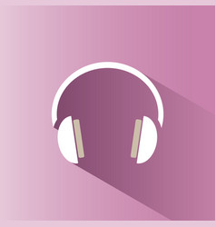 headphones icon on a pink background with shade vector image