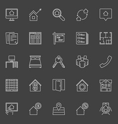 houses for rent outline icons vector image