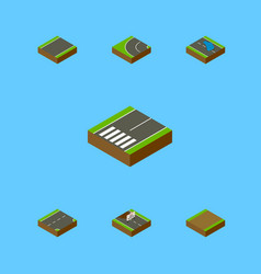 Isometric road set of repairs footpath down and vector