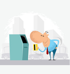 Man and cash machine vector