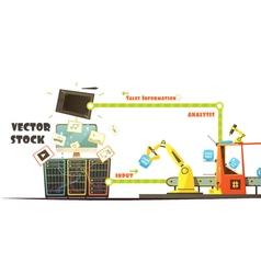 Microstock market working concept cartoon schema vector