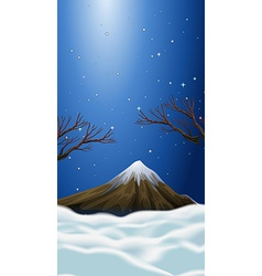 Nature scene with snow on mountain top vector